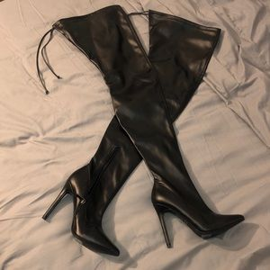 NWOT Black Faux Leather Thigh High Boots
